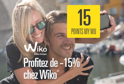 Échangez 15 points My WU pour obtenir 15% de réduction sur l'achat de votre produit Wiko©