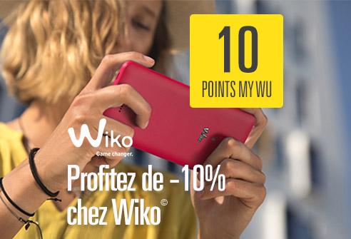 Échangez 10 points My WU pour obtenir 10% de réduction sur l'achat de votre produit Wiko©